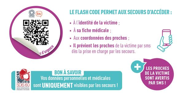 dossier médical, dispositif, urgence, secours, pompiers, SDIS, SUAP, HSE, flash code, QR code, proches victime IDU
